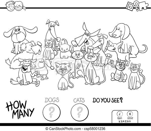 着色, 犬, ゲーム, ネコ, 数える, 本 - csp58001236
