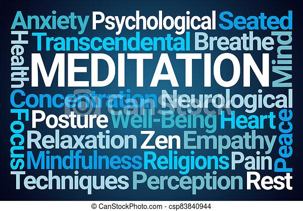 瞑想, 雲, 単語 - csp83840944