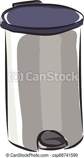 矢量, 垃圾, 背景, 不鏽純潔, 白色, 鋼, 銀, 顏色, 罐頭, 插圖 - csp68741599