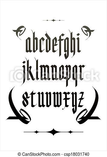 矢量, 字母表, 字体, 哥特式