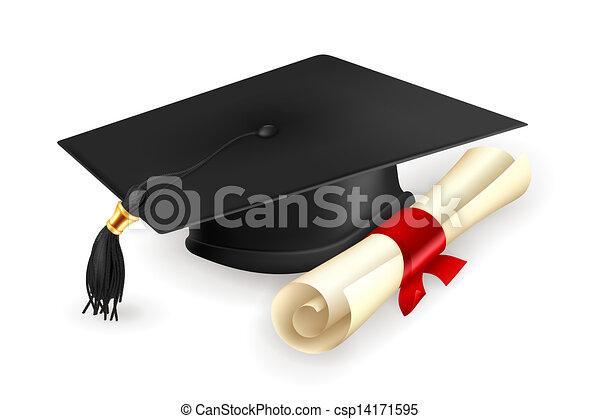 矢量, 畢業証書, 帽子, 畢業 - csp14171595