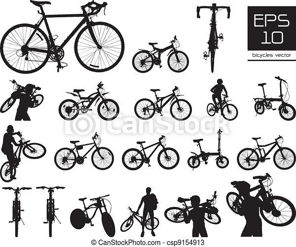 矢量, 自行车, 放置, 侧面影象 - csp9154913