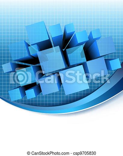 矢量, 藍色, 摘要, 背景。 - csp9705830