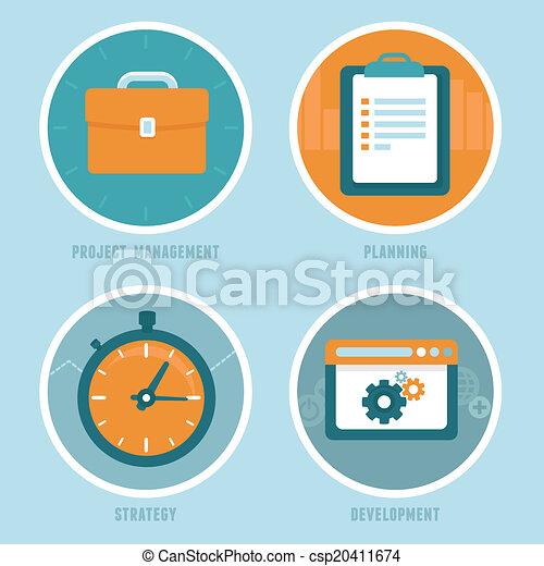 矢量, 項目, 風格, 管理, 概念, 套間 - csp20411674