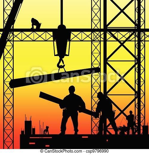 矢量, 黄昏, 工作, 工人, 描述, 建设 - csp9796990