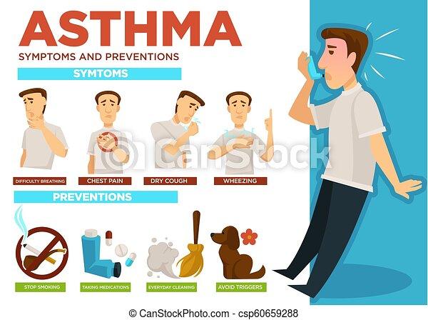 矢量, infographic, 哮喘, 疾病, 預防, 症狀 - csp60659288