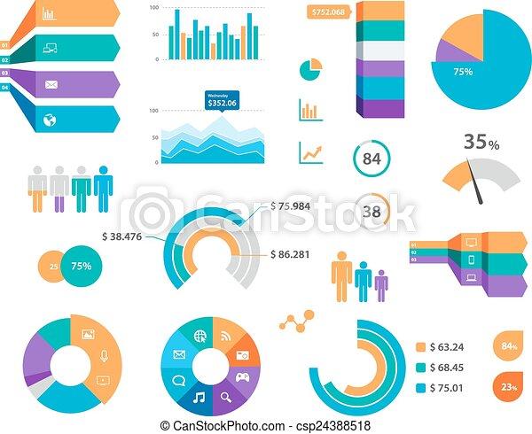 矢量, infographics, 标签, 图表, 图标 - csp24388518