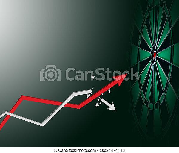 矢, 成長しなさい, ターゲット, ビジネス, の上 - csp24474118