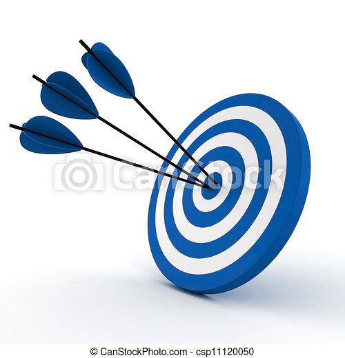 矢, 白, 3d, ターゲット, 隔離された - csp11120050