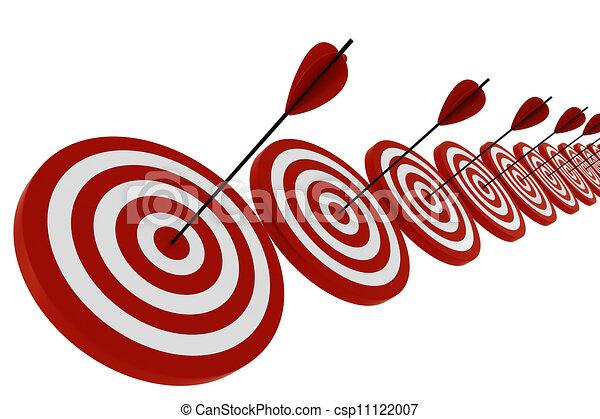 矢, 白, 3d, ターゲット, 隔離された - csp11122007