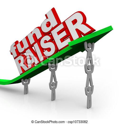 矢, fundraiser, 人々, 資金調達, 言葉, 持ち上がること - csp10733082