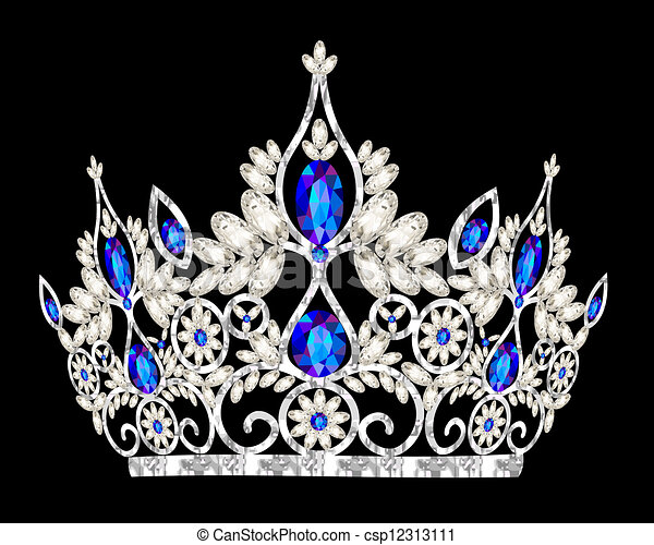 石頭, 藍色, tiara, 婚禮, 婦女` s, 王冠 - csp12313111