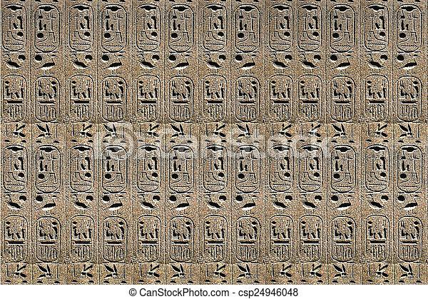 石, エジプト人, ライト, 象形文字, 背景, ベージュ - csp24946048