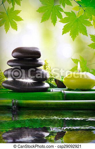 石, リラックスしなさい, 反映された, 水, ろうそく, マッサージ - csp29092921