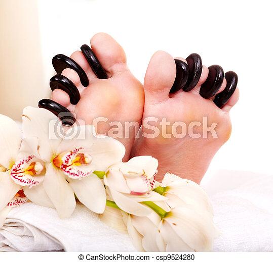 石, 女, 受け取ること, マッサージ, feet. - csp9524280
