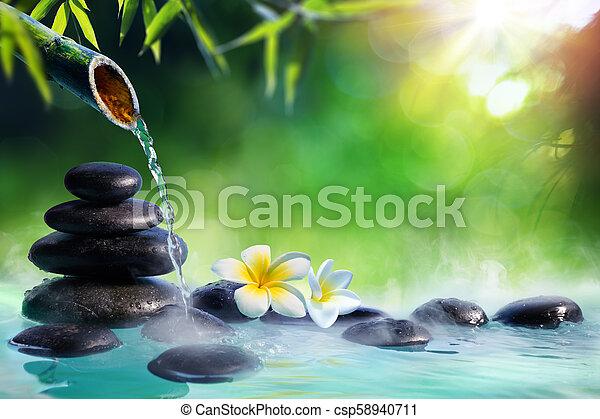 石, 庭, 禅, -, 日本語, 噴水, plumeria, 竹, 花, マッサージ - csp58940711