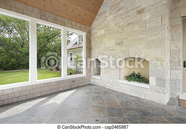 石, 暖炉, ポーチ - csp2465987