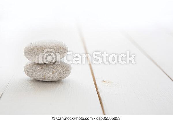 石, 木製である, 白, 禅, バックグラウンド。 - csp35505853