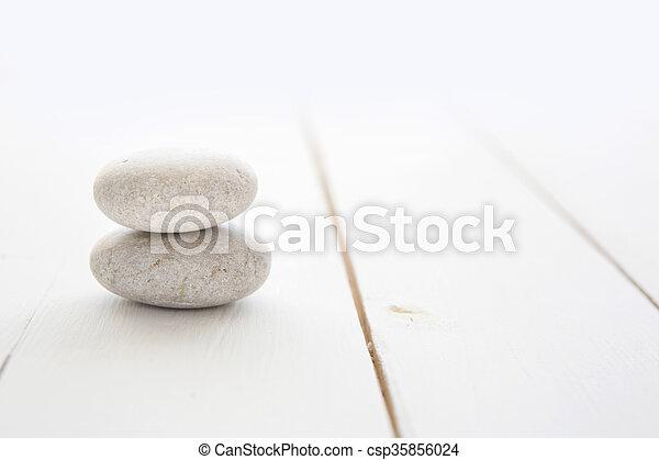 石, 木製である, 白, 禅, バックグラウンド。 - csp35856024