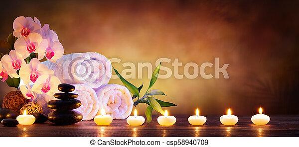 石, 概念, 自然, タオル, 蝋燭, -, 背景, エステ, マッサージ - csp58940709