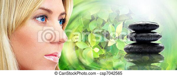 石, 生活, 若い 大人, 肖像画, エステ, まだ, 女性 - csp7042565