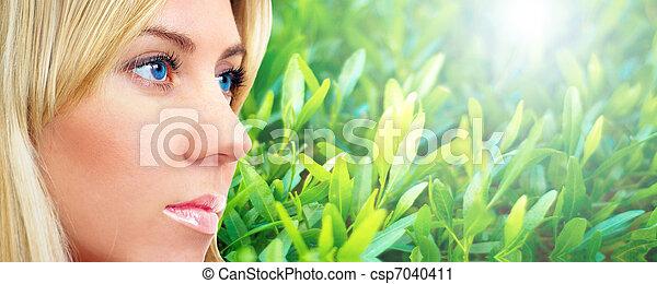 石, 生活, 若い 大人, 肖像画, エステ, まだ, 女性 - csp7040411