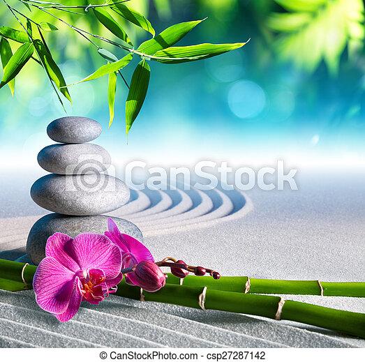 石, 砂, マッサージ, 蘭 - csp27287142
