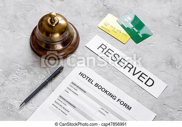 石, 背景, 形態, ホテルの受信, 机, 予約 - csp47856991