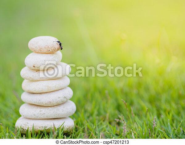 石, 蟻, 概念, 積み重ねられた, 背景, 緑, 自由, 上, 考え, 安定性, ピラミッド, デザイン, rocks., エステ, バランス, 柔らかい, ∥あるいは∥, 黒 - csp47201213