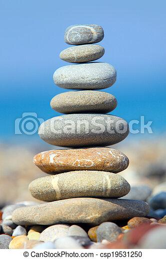 石, 青, 上に, 空, 海 - csp19531250
