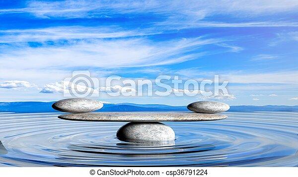 石, 青, 景色。, 空, 禅, 水, レンダリング, バランスをとる, 平和である, 3d - csp36791224