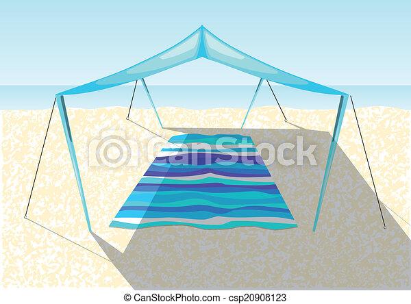 砂ビーチ, テント - csp20908123