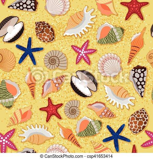 砂ビーチ, 海, 背景, 殻 - csp41653414