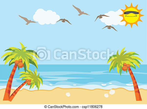 砂ビーチ, 海, 背景 - csp11806278