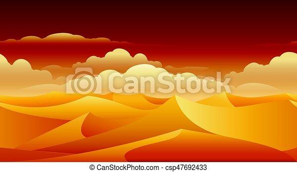 砂丘, パノラマ, 砂, sahara - csp47692433