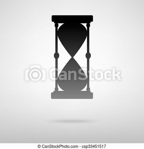 砂時計, 黒, アイコン - csp33451517