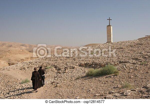 砂漠, イスラエル, judea, 修道士 - csp12814577
