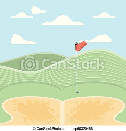 砂, のろい, ゴルフ, トラップ - csp60320456