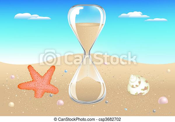 砂, 海岸, 時計 - csp3682702