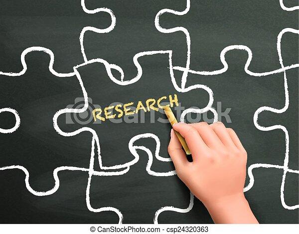 研究, パズル小片, 手, 単語, 書かれた - csp24320363
