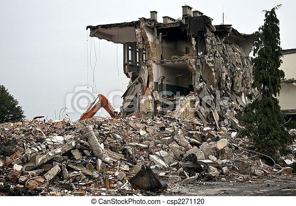 破壊された, シリーズ, 建物, debris. , csp2271120