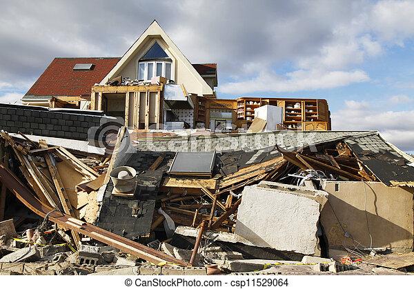 破壊, ハリケーン, 砂 - csp11529064