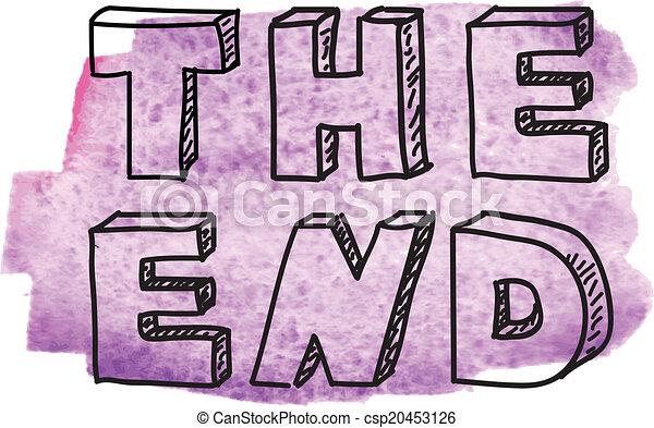 碑文 The End 碑文 紫色 水彩画 End 背景 The