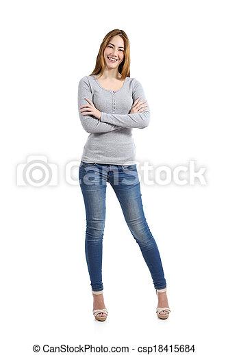 確信した, 女性ボディ, 幸せ, 偶然, 身に着けていること, フルである, 地位, ジーンズ - csp18415684