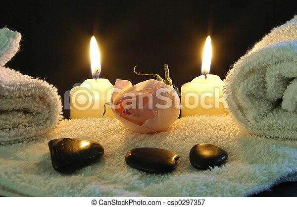 礦泉, 浪漫, 夜晚 - csp0297357