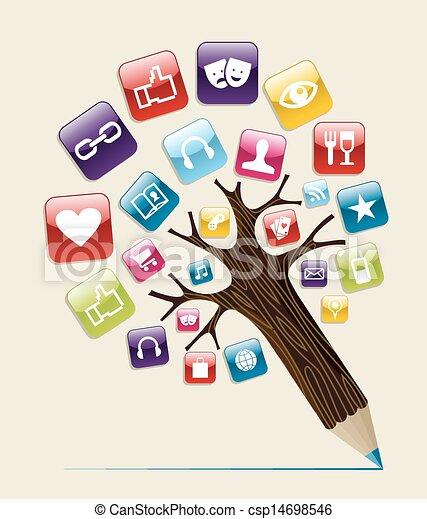 社会, 媒体, 概念, 木, 鉛筆 - csp14698546