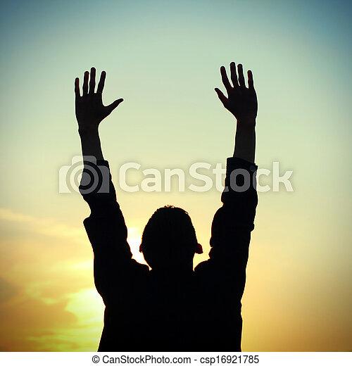 祈ること, シルエット, 人 - csp16921785