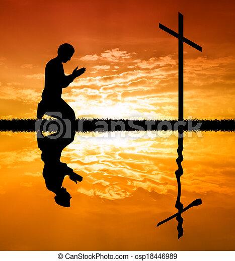 祈ること, 交差点, 人, 下に - csp18446989