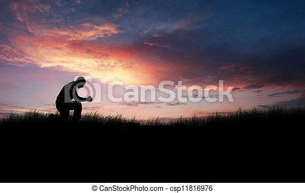 祈ること, 人 - csp11816976