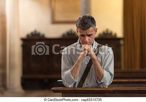 祈ること, 人, 教会 - csp43310735